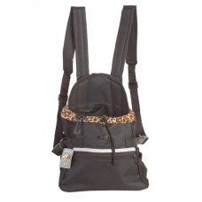Batoh pro psy černý s leopardí kožešinou S 26 x 18 x 34 cm DOOGY!